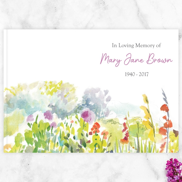 Condolence Guest Book Watercolour Wildflowers