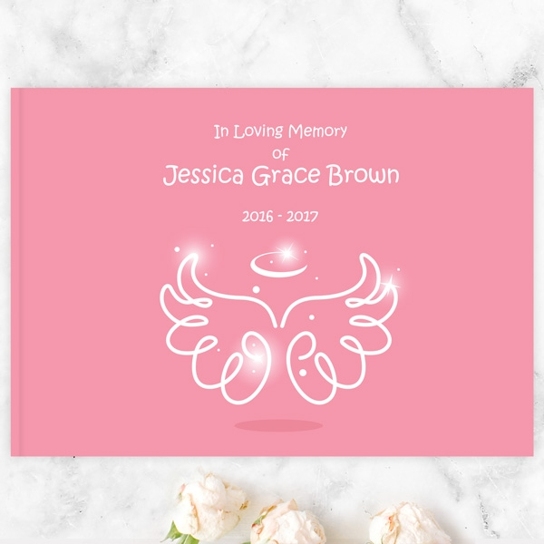 Condolence Guest Book Bright Pink Angel Wings & Halo
