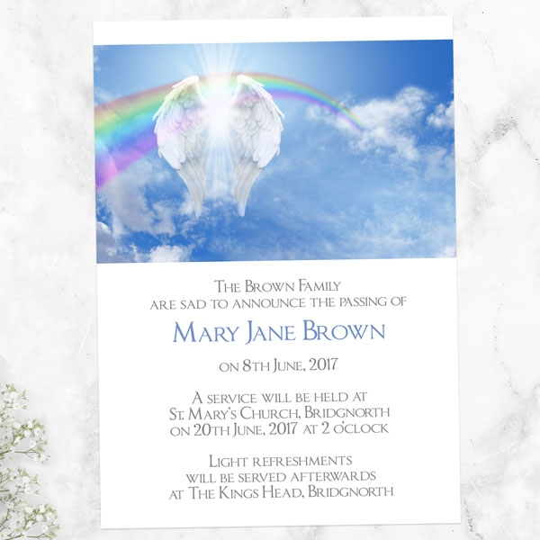 funeral-announcement-cards-angelic-wings-rainbow