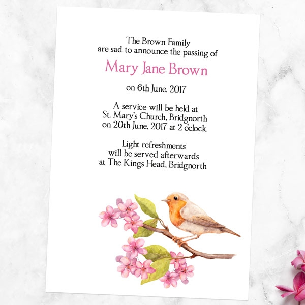 funeral-announcement-cards-watercolour-blossom-branch-robin