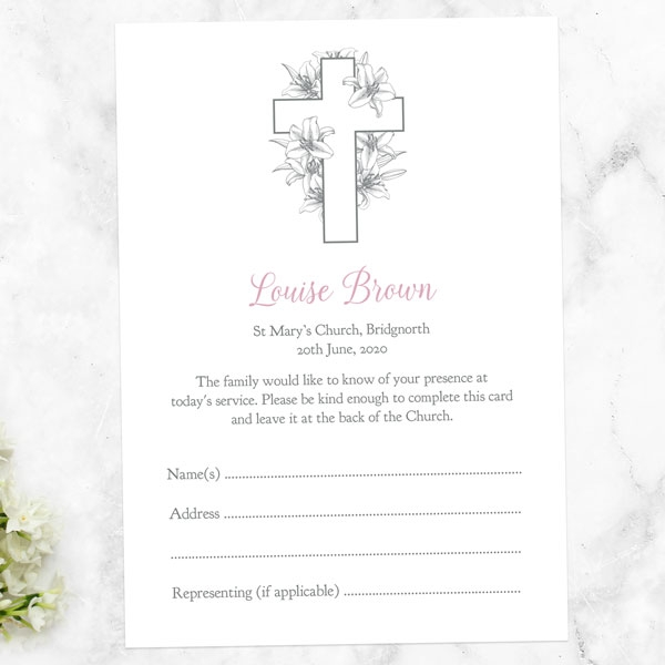 funeral-attendance-cards-white-lilies-cross