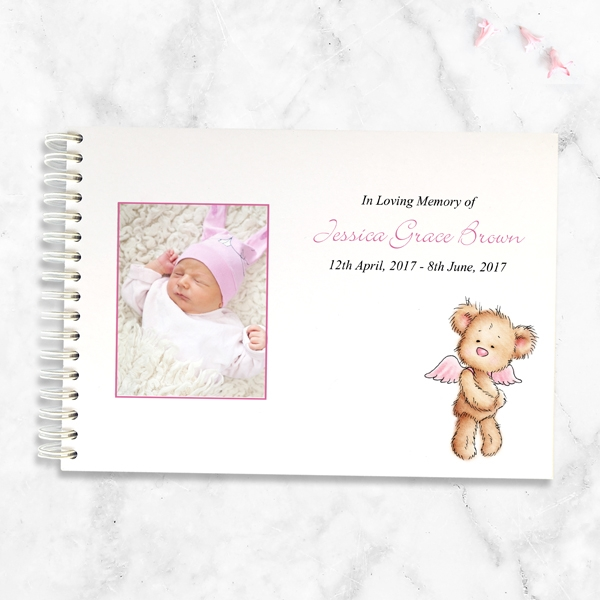 condolence-guest-book-pink-teddy-bear-angel