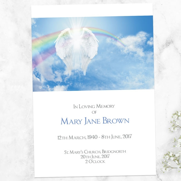 funeral-order-of-service-angelic-wings-rainbows