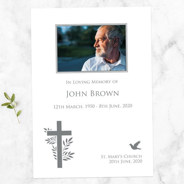 funeral-order-of-service-bird-cross-photo-silhouette