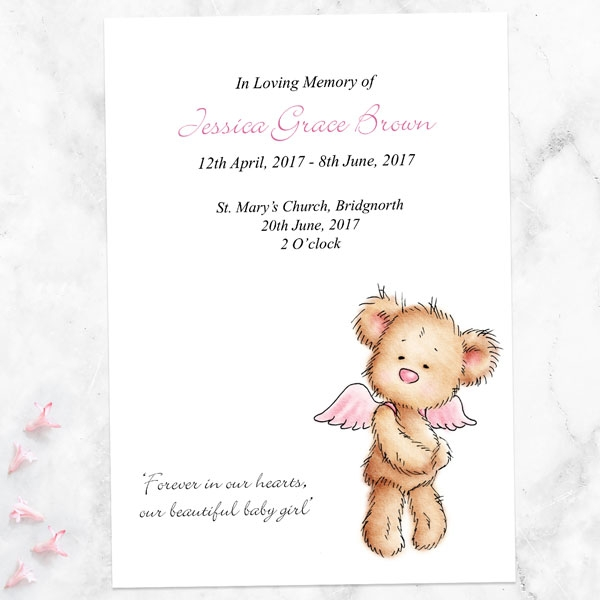 funeral-order-of-service-pink-teddy-bear-angel