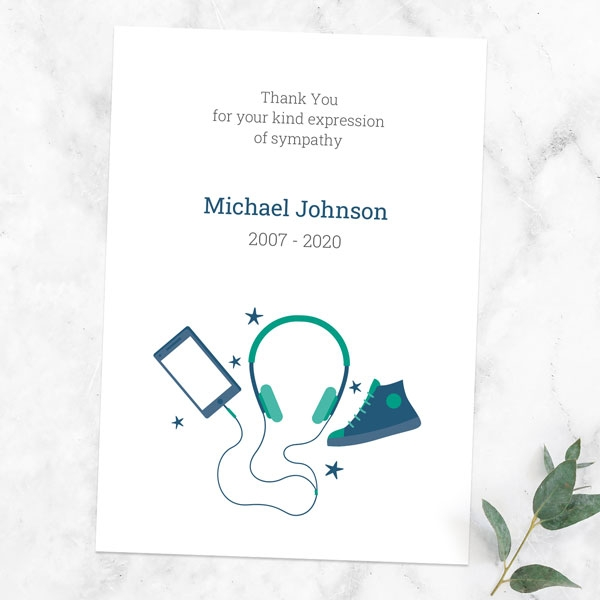 funeral-thank-you-cards-green-navy-teenage-music