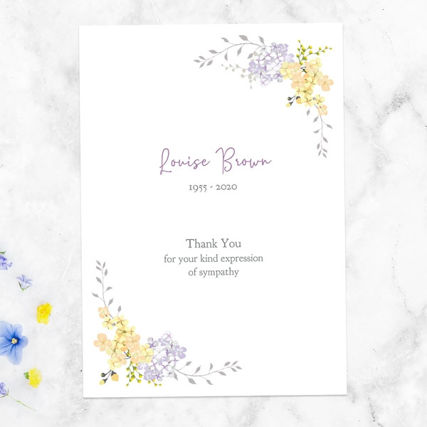 funeral-thank-you-cards-lemon-lilac-flowers-border