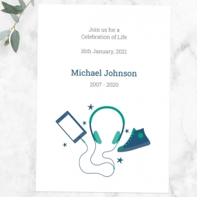 funeral-celebration-life-invitations-green-navy-teenage-music