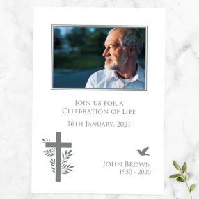 funeral-celebration-life-invitations-bird-cross-photo-silhouette