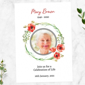 funeral-celebration-life-invitations-watercolour-poppy-garland