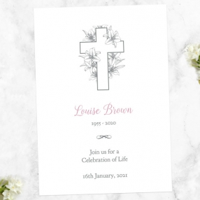 funeral-celebration-life-invitations-white-lilies-cross