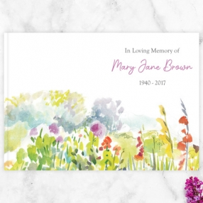 Condolence Guest Book Watercolour Wildflowers Thumbnail