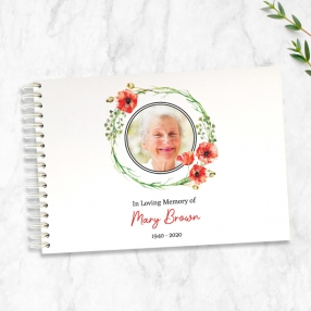 condolence-guest-book-watercolour-poppy-garland