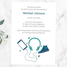 funeral-announcement-cards-green-navy-teenage-music