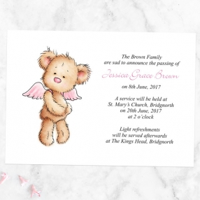 funeral-announcement-cards-pink-teddy-bear-angel