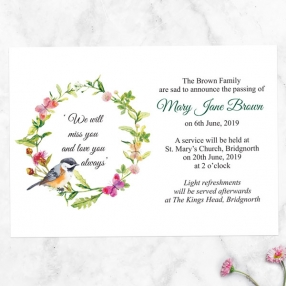 funeral-announcement-cards-watercolour-bird-garland