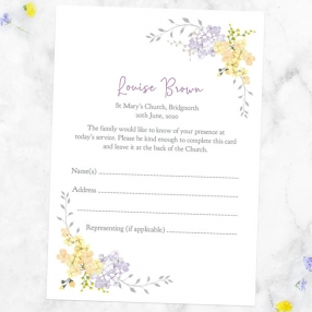 funeral-attendance-cards-lemon-lilac-flowers-border