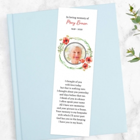 funeral-bookmark-watercolour-poppy-garland