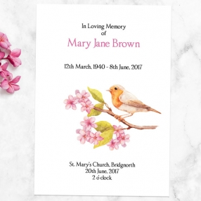 funeral-order-of-service-watercolour-blossom-branch-robin