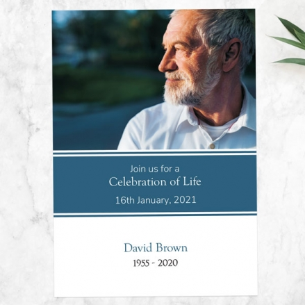 Funeral Celebration of Life Invitations - Blue Photograph Memories