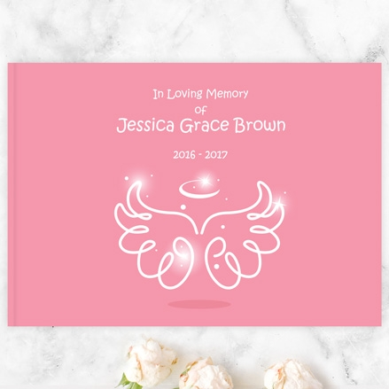 Condolence Guest Book - Bright Pink Angel Wings & Halo