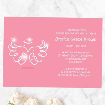 funeral-announcement-cards-bright-pink-angel-wings-halo