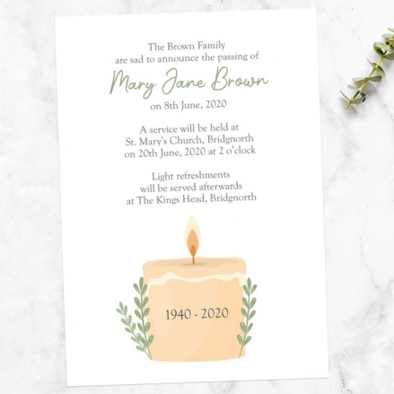 funeral-announcement-cards-in-loving-memory-candle