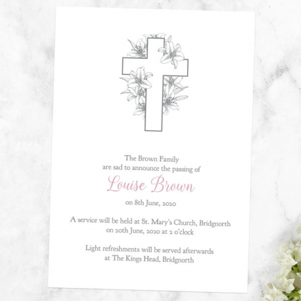 funeral-announcement-cards-white-lilies-cross