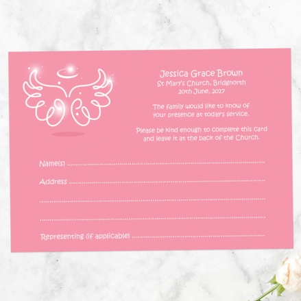 funeral-attendance-cards-bright-pink-angel-wings-halo