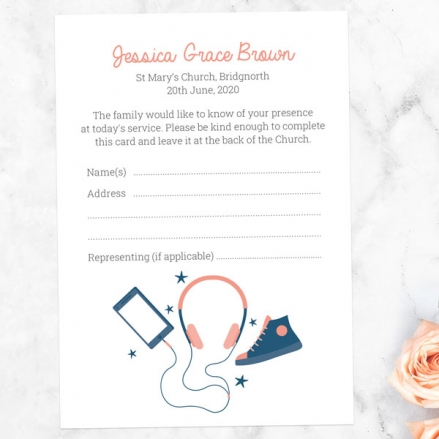 funeral-attendance-cards-coral-navy-teenage-music