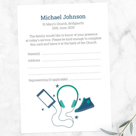 funeral-attendance-cards-green-navy-teenage-music