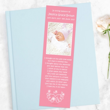 funeral-bookmark-bright-pink-angel-wings-halo