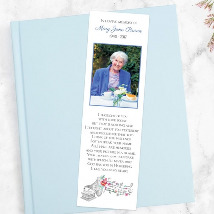 funeral-bookmark-musical-notes-flowers