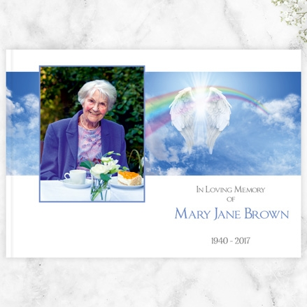 Condolence Guest Book - Angelic Wings & Rainbow
