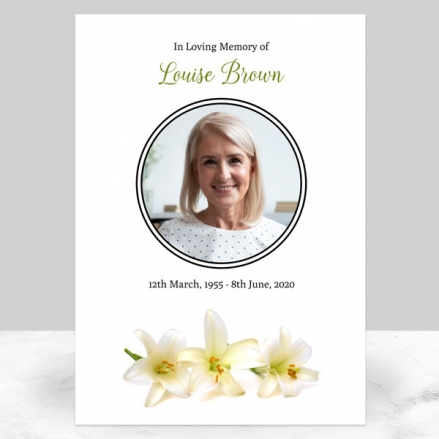Funeral Memorial Sign - Three Lilies