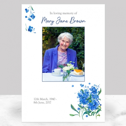 Funeral Memorial Sign - Watercolour Forget Me Nots