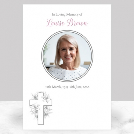 Funeral Memorial Sign - White Lilies Cross