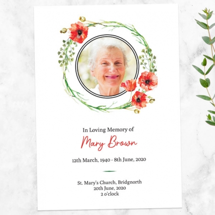 funeral-order-of-service-watercolour-poppy-garland