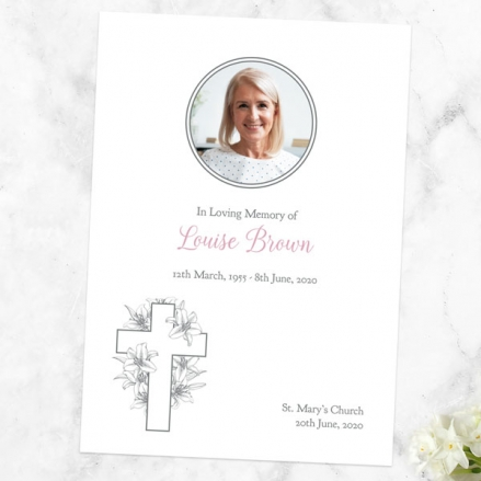 funeral-order-of-service-white-lilies-cross-photo