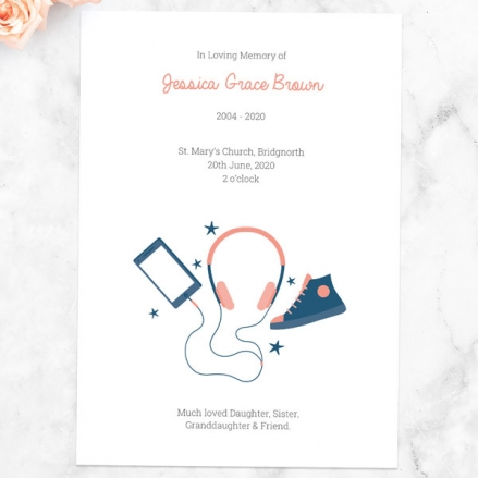 funeral-order-of-service-coral-navy-teenage-music