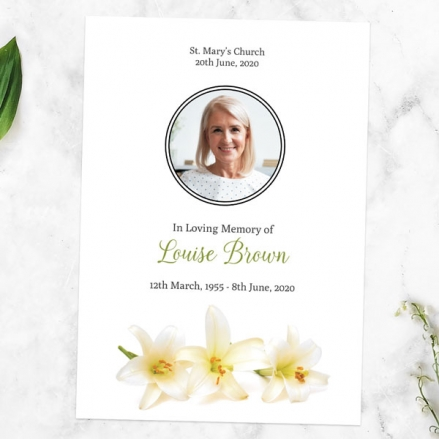funeral-order-of-service-three-lilies