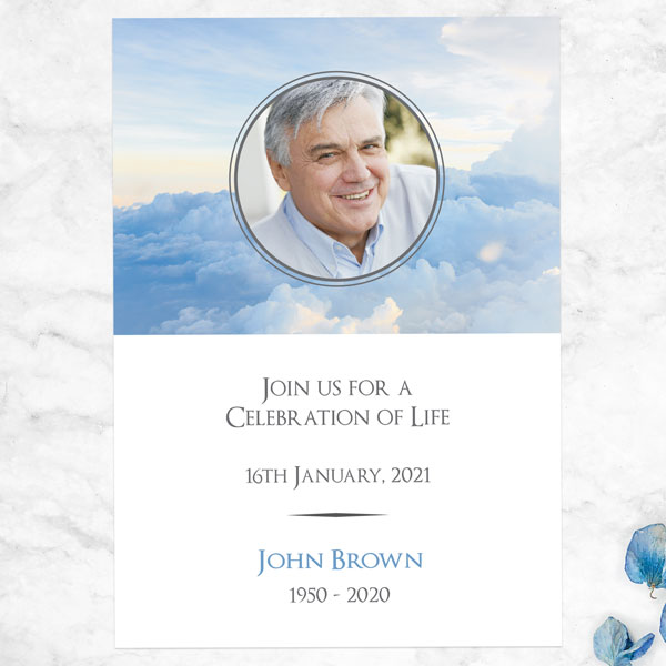 Funeral Celebration of Life Invitations - Heavenly Clouds