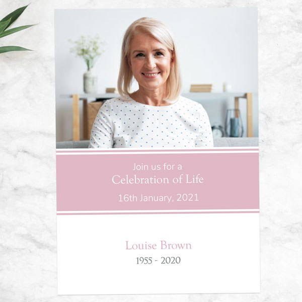 Funeral Celebration of Life Invitations - Pink Photograph Memories