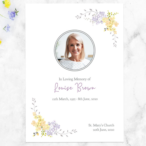 Funeral Order of Service - Lemon & Lilac Flowers Border