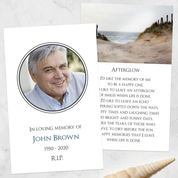 Funeral Memorial Cards - Sea View Path Photo