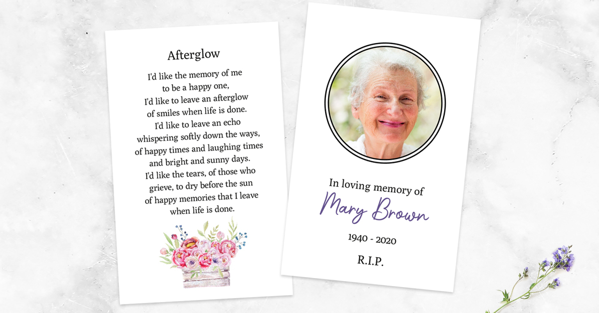 Poems and Wording for a Funeral Memorial Card
