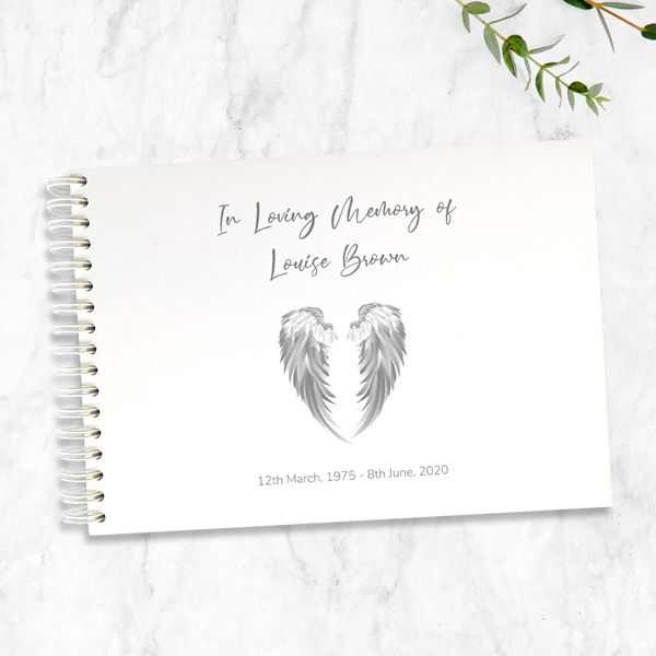 What is a Funeral Condolence Book - Condolence Guest Book - Grey Angel Wings