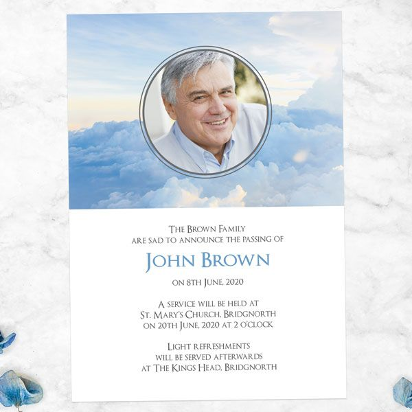 What Should I Put on a Funeral Announcement Card - Funeral Announcement Cards - Heavenly Clouds