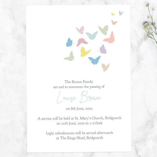 What Should I Put on a Funeral Announcement Card - Funeral Announcement Cards - Flying Butterflies