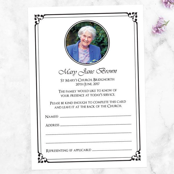 How to Use Funeral Attendance Cards - Funeral Attendance Cards - Elegant Frame